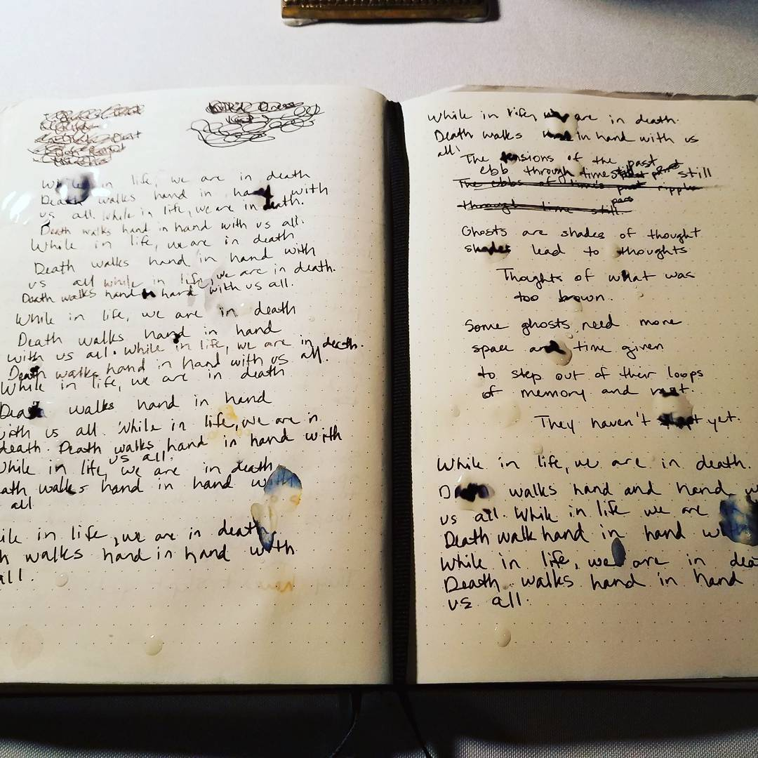 "Keeping the hours during ""Haunted,"" an immersive, Southern-Gothic site-responsive performance which was not a play. ""Death walks hand in hand with us all."" Handwritten text is blurred with drops of tea."