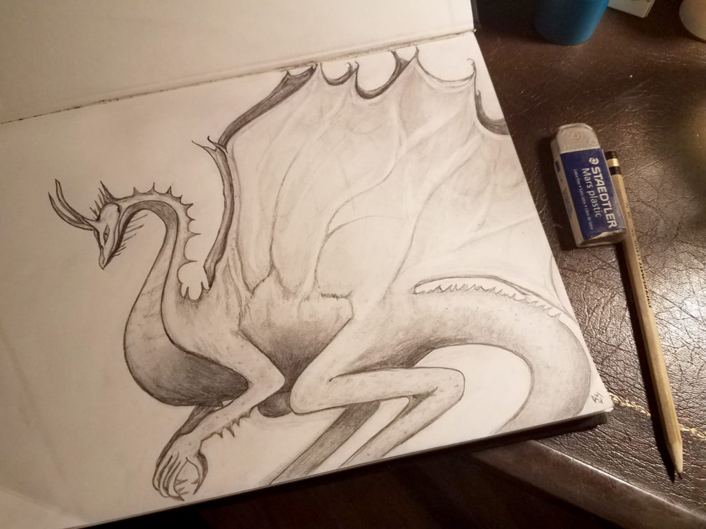 A pencil sketch of a dragon in profile. It has a small head with long horns, many sharp scales and protrusions down its neck, long thin legs, and bat-like wings.