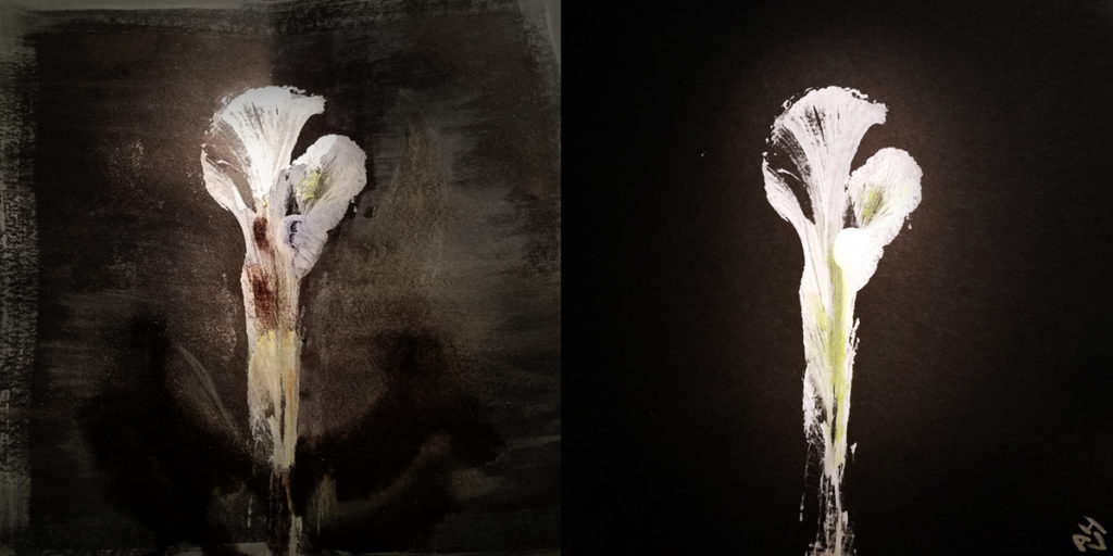 Two side-by-side images of a flower. The original illustration, on the right, is of a pristine abstract lily. The image on the left was intentionally overworked (in a fashion not unlike most of the 90s).